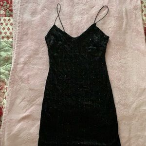 Black crushed velvet mini dress